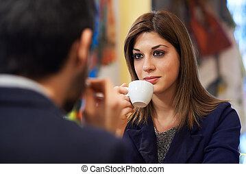 café, mulher, barzinhos, pessoas,  Espresso, bebendo
