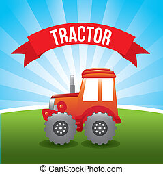 Tractor design - Tractor design over landscape background,...
