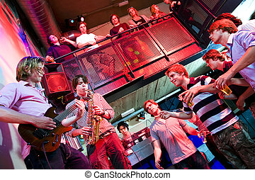 Disco gig - Musicians on Guitar and Saxophone, accompanied...