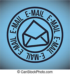 Email design over blue background, vector illustration