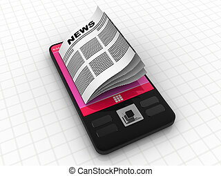 Modern smart phone with business news
