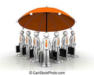 3d business team standing under a big umbrella