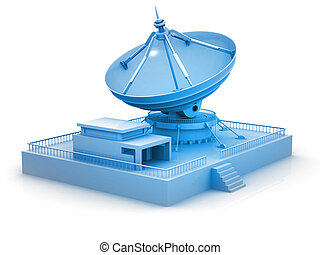 Tele Communication system. Satellite dish on white background