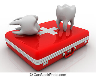 Teeth and Medical Kit on white isolated background