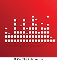 White digital equalizer background on red - vector illustration