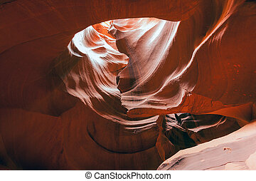Amazing light and sandstone patterns in the Antelope canyon, Utah