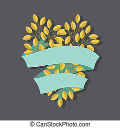 Natural background with branches of leaves and banner.