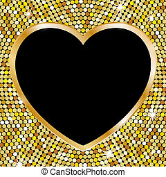 Gold frame in the shape of heart