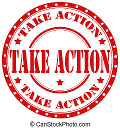 Take Action-stamp - Red rubber stamp with text Take...