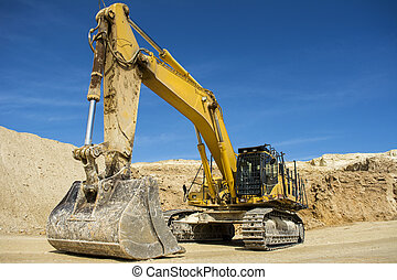 Excavator at Quarry site - Close up of an excavator at a...