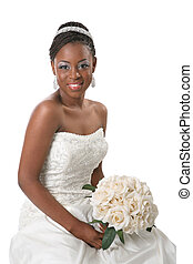 Beautiful African American Bride Portrait Sitting on White...