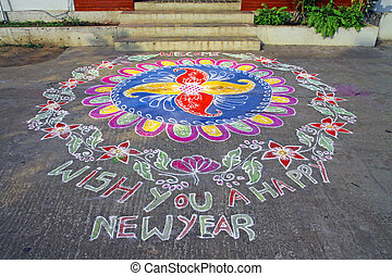Traditional Rangoli Floral Design Indian Threshold modern adaptation to greeting