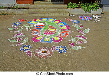 Taditional Rangoli southindian thresholds celebrating...