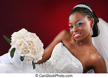 Beautiful African American Bridal Portrait on Red Dark...