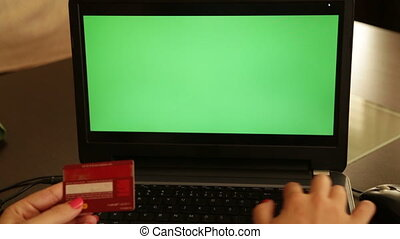 On-line shopping chroma key laptop - Online payments with...