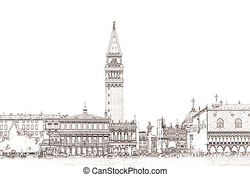 Piazzetta San Marco Venice - a graphic of the Piazzetta San...