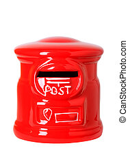 red toy post box, post bank style money box