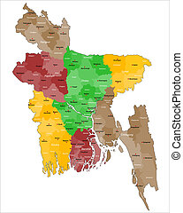 Map of Bangladesh - Detailed map of all regions and main...