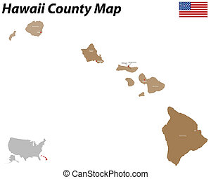 Hawaii county map - Detailed map of the State of Hawaii with...