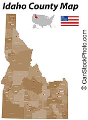 Idaho County map - Detailed map of the State of Idaho with...