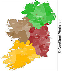 Map of Ireland with gaelic letters.