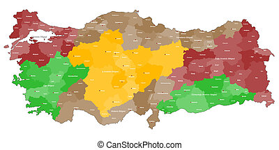 Map of Turkey - Detailed map of Turkey with all regions and...