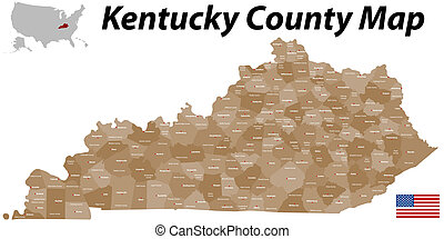 Kentucky county map - Detailed map of the State of Kentucky...
