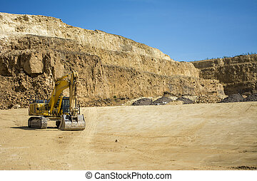 Excavator at quarry site - Excavator at mining quarry site
