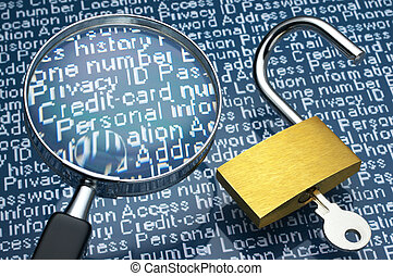 Sneaking a look at personal information. - Unlocked padlock...