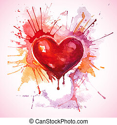 Hand drawn painted red watercolor heart - Vector Valentine's...