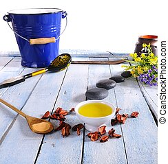Massage oil. - Massage oil in the table of spa.