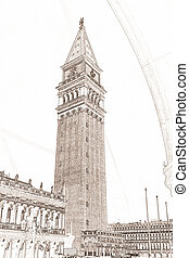 Campanile Venice - drawing of the Campanile in Venice