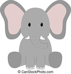 Elephant - Baby elephant seated