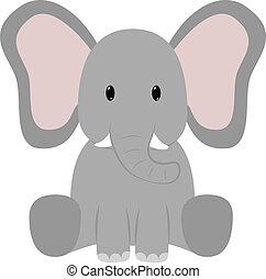 Elephant - Baby elephant seated