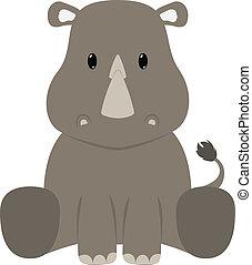 Rhinoceros - Baby rhinoceros seated