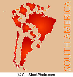 South America - A map of South America with divided...