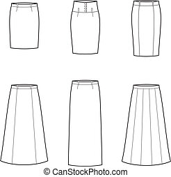 Skirt - Vector illustration of women's skirts