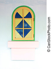 windows with colorful of artistic design. - windows with...