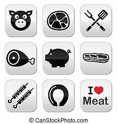 豚, ポーク, 肉, -, ハム, ベーコン, アイコン