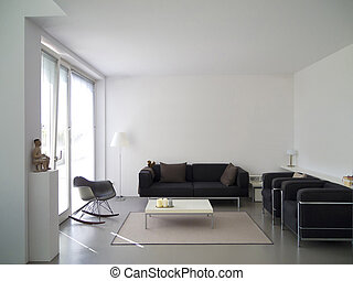 modern living room interior - modern private living room...