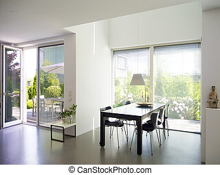 modern dining room and garden - modern dining room interior...