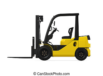 Forklift Truck isolated on white background. 3D render