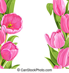 Beautiful pink tulips realistic background