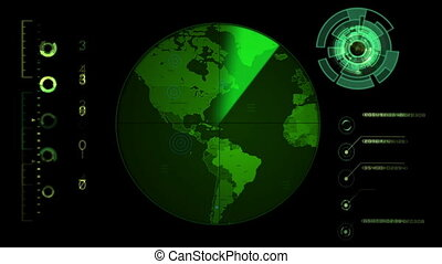 Radar Screen Display - Radar screen displaying continents....