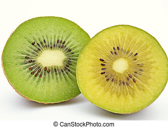 Green and gold kiwi - Gold and green kiwi slices isolated on...