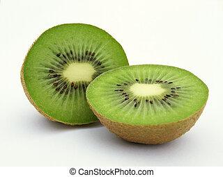 Green kiwis - Two green kiwi pieces set against white...