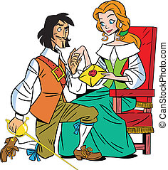 letter musketeer - The illustration shows a musketeer and a...