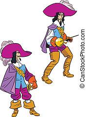 musketeer in two poses - The illustration shows a musketeer...