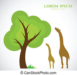 Vector image of trees and giraffes on white background
