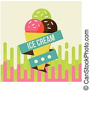 ice cream background - Retro ice cream poster. Vector...